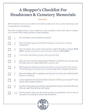 ROA Checklist for Headstones and Cemetary Memorials Cover